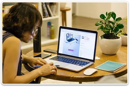A woman creating an online course