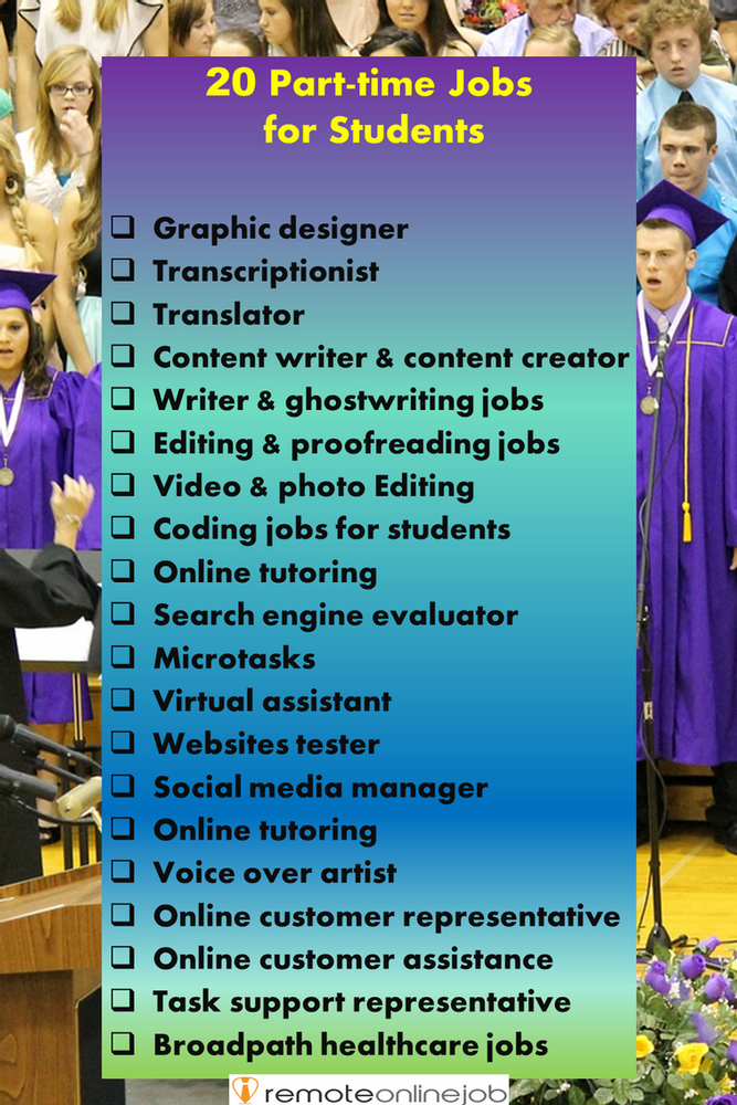 Infographic showing 20 part-time jobs for students: graphic designer, transcriptionist, translator, content writer, ghostwriting, video and photos editing, coding jobs, online tutoring, search engine evaluator, microtasks on MTurk for example, virtual assistant, websites tester, social media manager