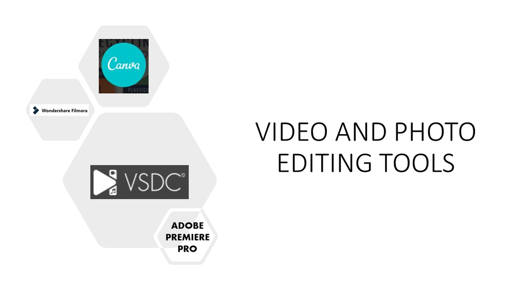 Examples of video and photo editing tools: Canva, Adobe premiere pro, VSDC, wondershare filmora