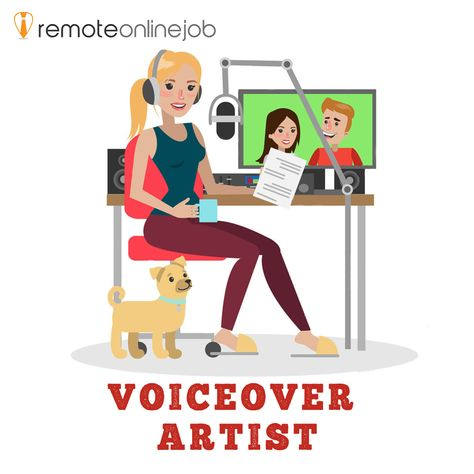 Young woman recording voice over in office home. It is a perfect remote job for students who have speaking skills. It can be done in English or in any other foreign language.