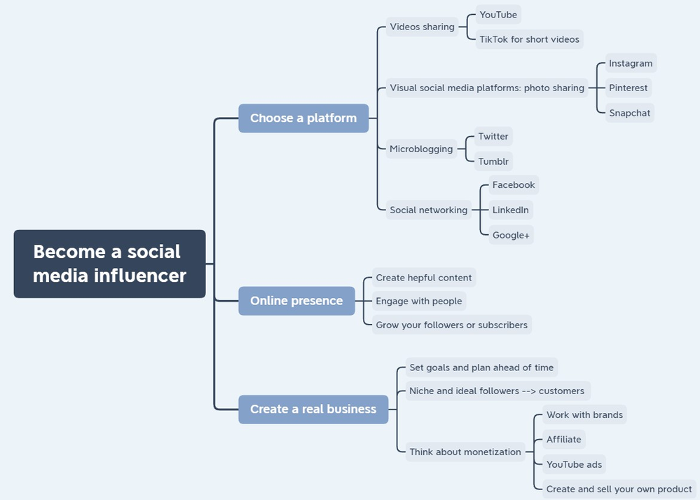 Infographic showing how to become a social media influencer