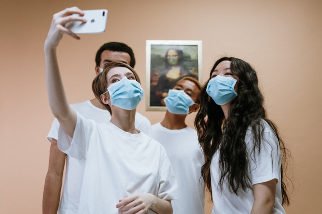 Students of healthcare internships taking pictures