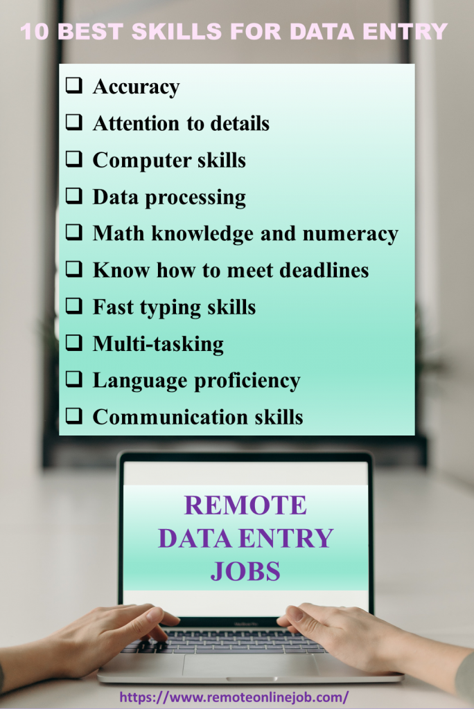 infographic showing 10 best skills for data entry jobs from home: accuracy, attention to details, computer skills, data processing, math knowledge in numeracy, know how to meet deadlines, fast typing skills, multi-tasking, language proficiency, communication skills