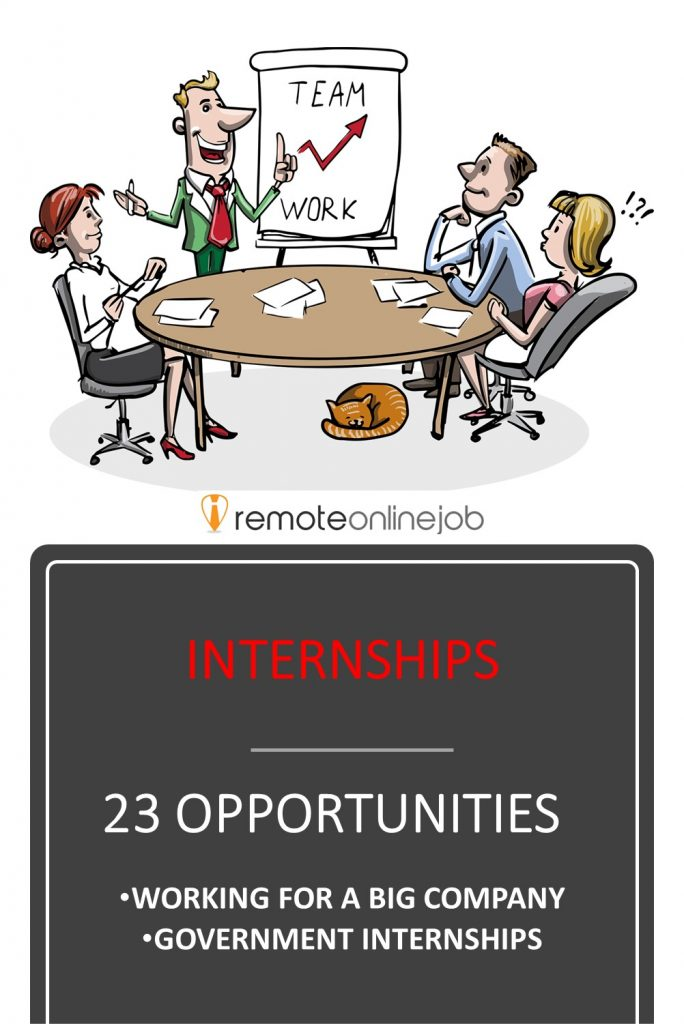 remoteonlinejob.com Find an internship to land your first job. 23 opportunities to work for a big company or for the government.