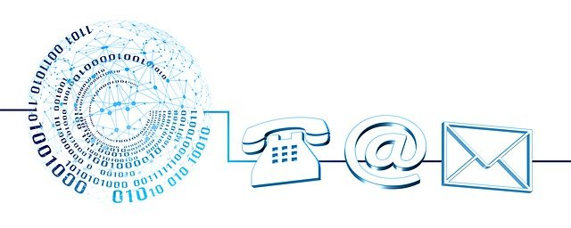 Picture showing different means of telecommunication: phone and email