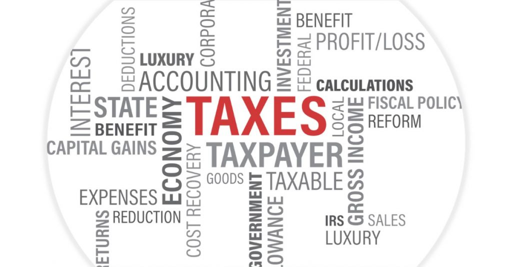 Infographic showing accounting for taxes calculation: tax deduction, federal taxes, IRS, fiscal policy, capital gain, investment, state benefit, interest, taxpayer