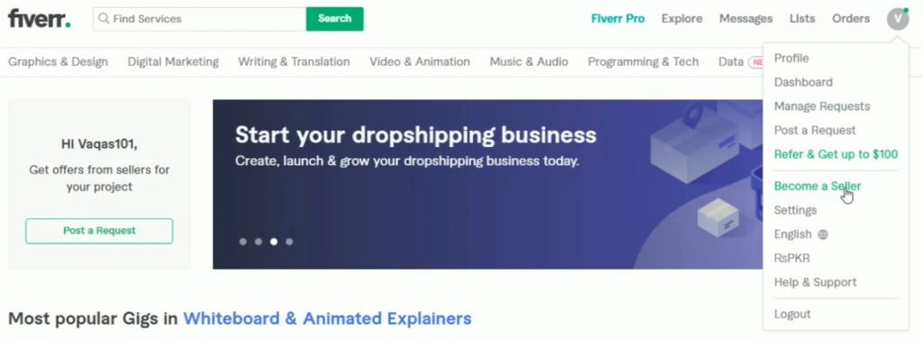 Starting your registration to become a Fiverr seller