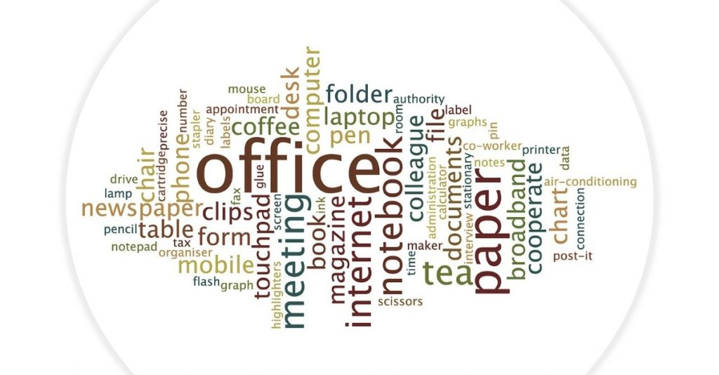 Infographic showing everything related to office job