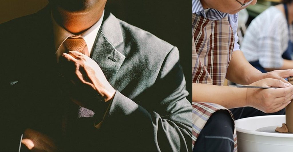 Hobby vs business _ businessman in suit vs crafting