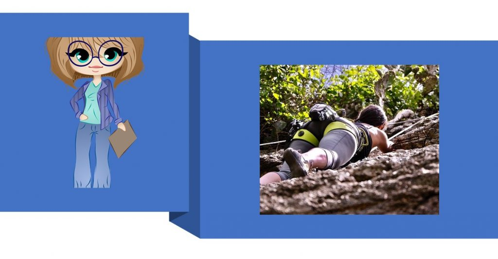 Hobby vs business _ female worker and rock climbing activity