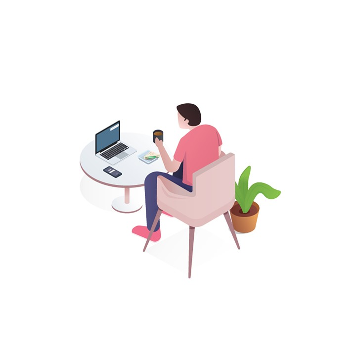 Marketer working in home office on a computer